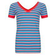 Shirt Streep korte mouw v hals Halsoverkop